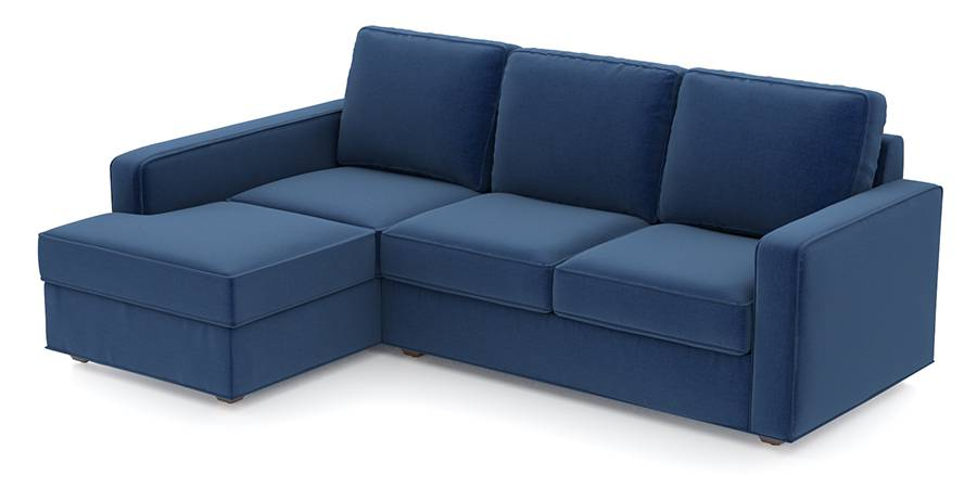 Apollo Sofa Set (Cobalt, Fabric Sofa Material, Compact Sofa Size, Soft Cushion Type, Sectional Sofa Type, Sectional Master Sofa Component, Regular Back Type, Regular Back Height) by Urban Ladder - - 96975