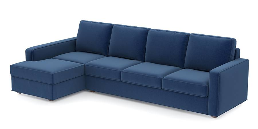 Apollo Sofa Set (Cobalt, Fabric Sofa Material, Compact Sofa Size, Firm Cushion Type, Sectional Sofa Type, Sectional Master Sofa Component, Regular Back Type, Regular Back Height) by Urban Ladder - - 97711