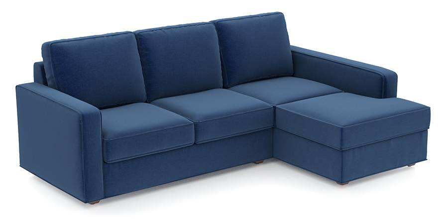 Apollo Sofa Set (Cobalt, Fabric Sofa Material, Compact Sofa Size, Firm Cushion Type, Sectional Sofa Type, Sectional Master Sofa Component, Regular Back Type, Regular Back Height) by Urban Ladder - - 97717