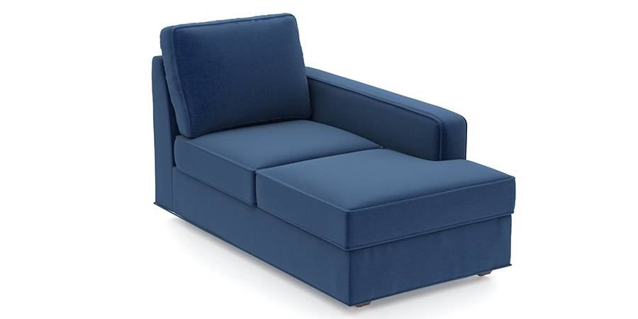 Apollo Sofa Set (Cobalt, Fabric Sofa Material, Compact Sofa Size, Firm Cushion Type, Sectional Sofa Type, Right Aligned Chaise Sofa Component, Regular Back Type, Regular Back Height) by Urban Ladder - - 97738