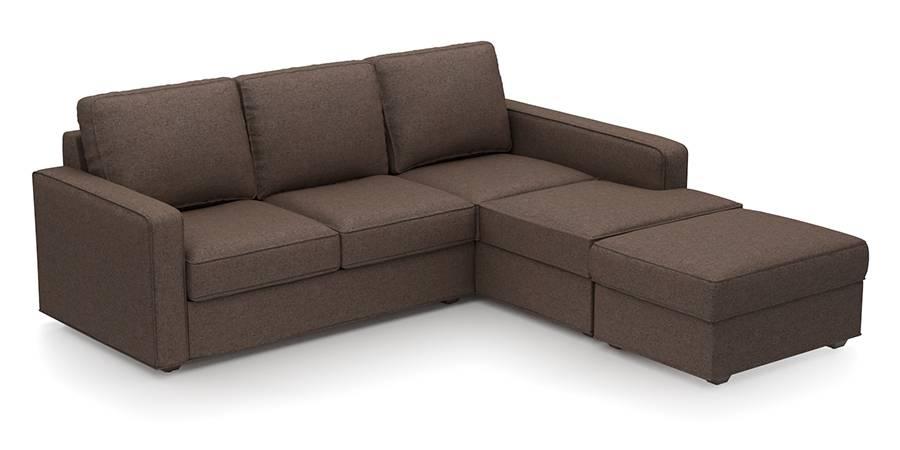 Apollo Sofa Set (Mocha, Fabric Sofa Material, Compact Sofa Size, Soft Cushion Type, Sectional Sofa Type, Sectional Master Sofa Component) by Urban Ladder