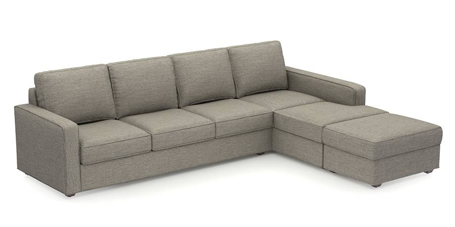 Apollo Sofa Set (Mist, Fabric Sofa Material, Compact Sofa Size, Firm Cushion Type, Sectional Sofa Type, Sectional Master Sofa Component, Regular Back Type, Regular Back Height) by Urban Ladder - - 98320