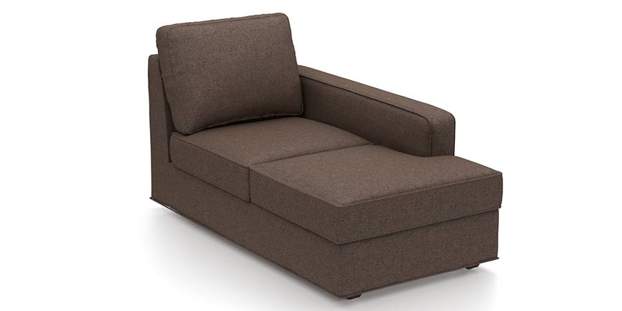 Apollo Sofa Set (Mocha, Fabric Sofa Material, Compact Sofa Size, Firm Cushion Type, Sectional Sofa Type, Right Aligned Chaise Sofa Component) by Urban Ladder
