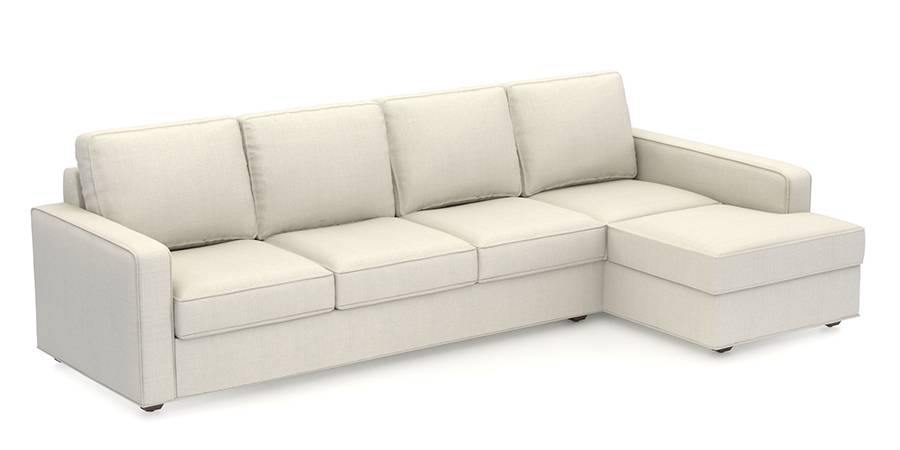 Apollo Sofa Set (Pearl, Fabric Sofa Material, Compact Sofa Size, Firm Cushion Type, Sectional Sofa Type, Sectional Master Sofa Component) by Urban Ladder
