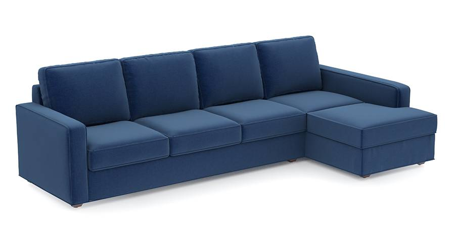 Apollo Sofa Set (Cobalt, Fabric Sofa Material, Regular Sofa Size, Soft Cushion Type, Sectional Sofa Type, Sectional Master Sofa Component, Regular Back Type, Regular Back Height) by Urban Ladder - - 99104