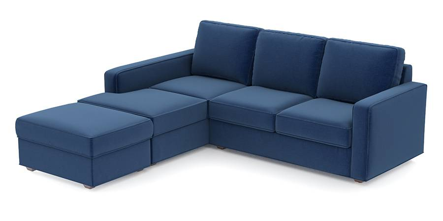Apollo Sofa Set (Cobalt, Fabric Sofa Material, Regular Sofa Size, Soft Cushion Type, Sectional Sofa Type, Sectional Master Sofa Component, Regular Back Type, Regular Back Height) by Urban Ladder - - 99118