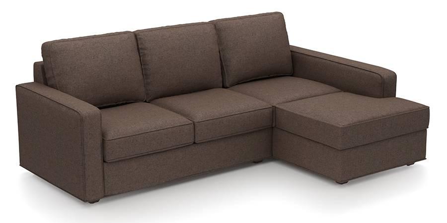 Apollo Sofa Set (Mocha, Fabric Sofa Material, Regular Sofa Size, Soft Cushion Type, Sectional Sofa Type, Sectional Master Sofa Component) by Urban Ladder
