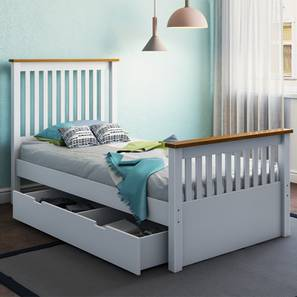Athens Storage Single Bed (Single Bed Size, White Finish) by Urban Ladder