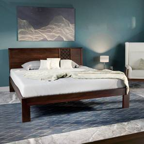 Alaca Bed (Mahogany Finish, Queen Bed Size) by Urban Ladder
