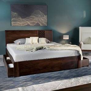 Alaca Storage Bed (Mahogany Finish, Queen Bed Size) by Urban Ladder