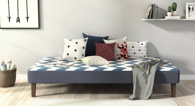 Mou Bed With Mattress (Chevron Blue) by Urban Ladder