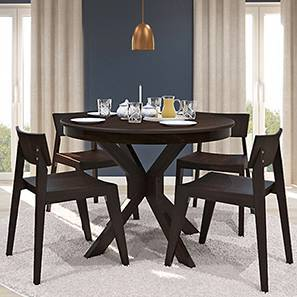 Liana - Gordon 4 Seater Round Dining Table Set (Mahogany Finish) by Urban Ladder