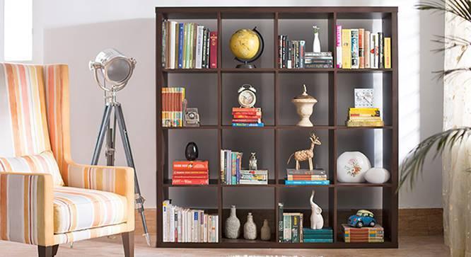 Boeberg Bookshelf (Dark Walnut Finish, 4 x 4 Configuration, Without Inserts) by Urban Ladder