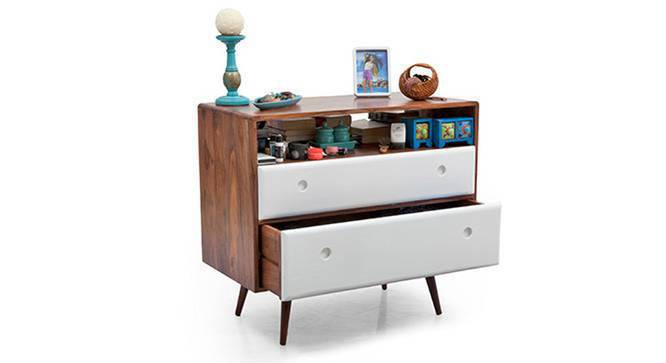 Roswell Chest of Drawers (White) (Teak Finish) by Urban Ladder
