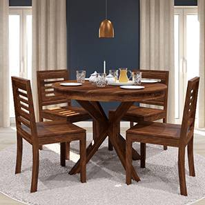 Liana - Capra 4 Seater Round Dining Table Set (Teak Finish) by Urban Ladder