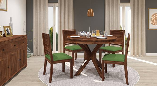Liana - Oribi 4 Seater Round Dining Table Set (Teak Finish, Avocado Green) by Urban Ladder