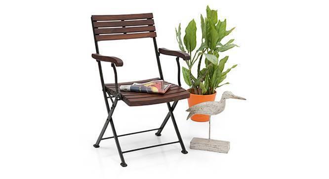 Masai Arm Chairs - Set of Two (Teak Finish) (Black) by Urban Ladder
