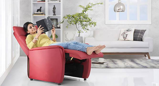 Bertie Compact Recliner (Tango Red Leatherette) by Urban Ladder