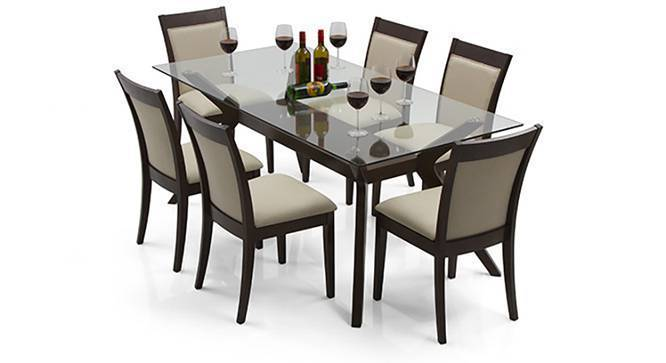 Wesley Dalla 6 Seater Dining Table Set Dark Walnut Finish Latte By