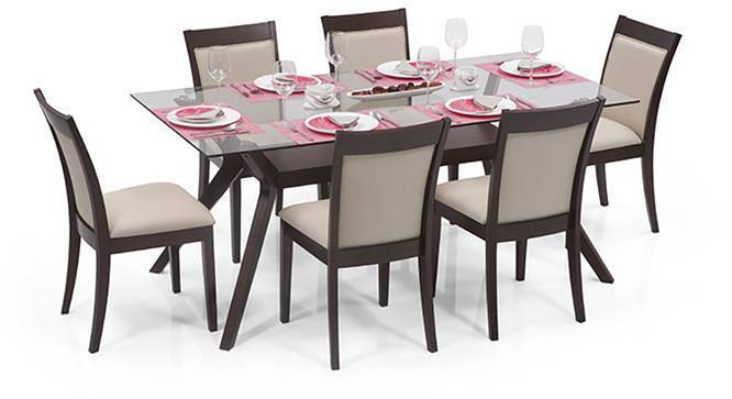 Wesley - Dalla 6 Seater Dining Table Set (Dark Walnut Finish, Latte) by Urban Ladder