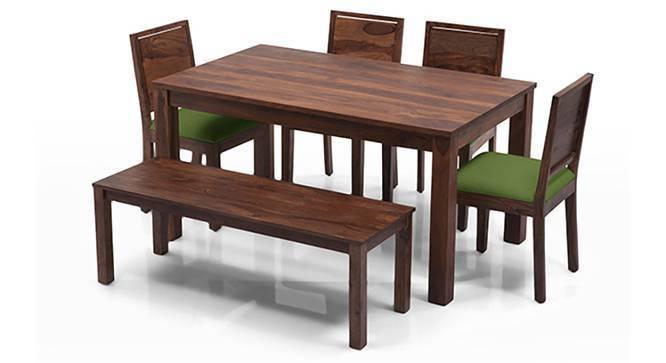Arabia - Oribi 6 Seater Dining Table Set (With Bench) (Teak Finish, Avocado Green) by Urban Ladder