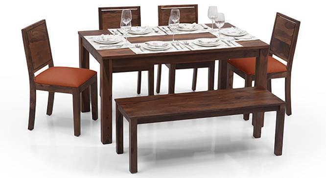 Arabia - Oribi 6 Seater Dining Table Set (With Bench) (Teak Finish, Burnt Orange) by Urban Ladder