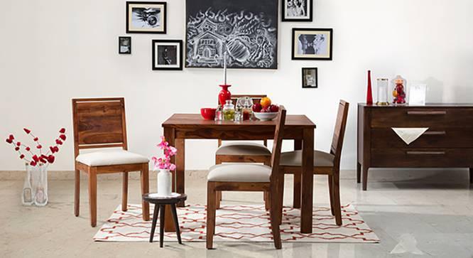 Brighton Square - Oribi 4 Seater Dining Table Set (Teak Finish, Wheat Brown) by Urban Ladder
