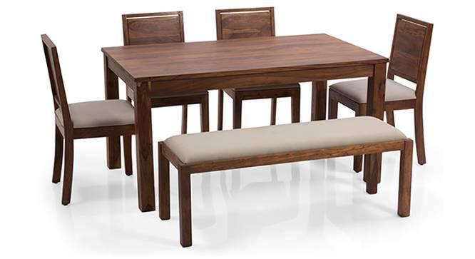 Arabia - Oribi 6 Seater Dining Set (With Bench) (Teak Finish, Wheat Brown) by Urban Ladder