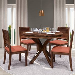 Liana - Oribi 4 Seater Round Dining Table Set (Teak Finish, Burnt Orange) by Urban Ladder