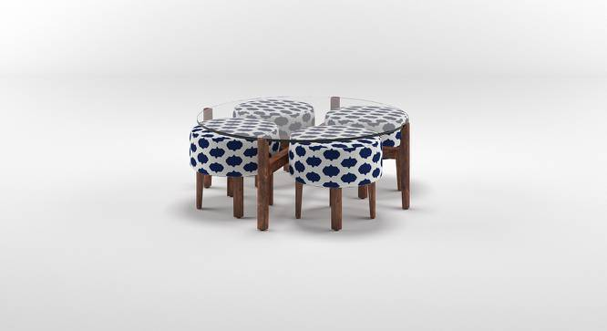Cayman Coffee Table Set (Teak Finish, Inkblot Blue) by Urban Ladder