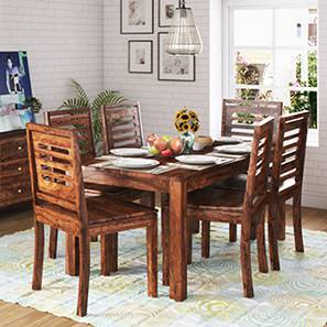 Arabia XL Storage - Capra 6 Seater Dining Table Set (Teak Finish) by Urban Ladder