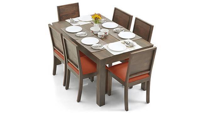Arabia - Oribi 6 Seater Dining Table Set (Teak Finish, Burnt Orange) by Urban Ladder