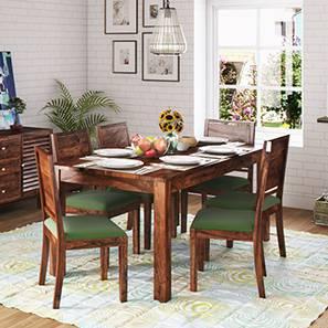 Arabia XL Storage - Oribi 6 Seater Dining Table Set (Teak Finish, Avocado Green) by Urban Ladder
