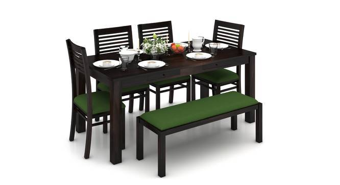 Arabia XL Storage - Zella 6 Seater Dining Table Set (With Upholstered Bench) (Mahogany Finish, Avocado Green) by Urban Ladder