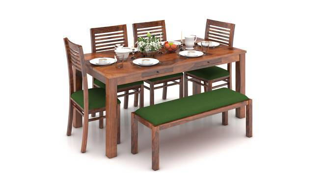 Arabia XL Storage - Zella 6 Seater Dining Table Set (With Upholstered Bench) (Teak Finish, Avocado Green) by Urban Ladder