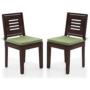 Capra Dining Chairs - Set of 2 (With Removable Cushions) (Mahogany Finish, Avocado Green) by Urban Ladder