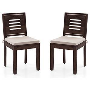 Capra Dining Chairs - Set of 2 (With Removable Cushions) (Mahogany Finish, Wheat Brown) by Urban Ladder