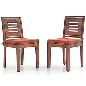 Capra Dining Chairs   Set Of 2 (With Removable Cushions) (Teak Finish,