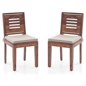 Capra Dining Chairs - Set of 2 (With Removable Cushions) (Teak Finish, Wheat Brown) by Urban Ladder