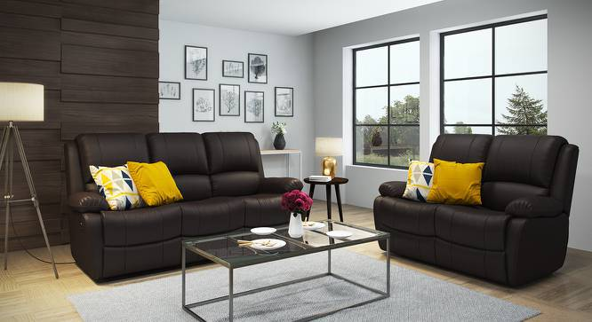Tribbiani Three Seater Recliner Sofa (Chocolate Brown Leatherette) by Urban Ladder