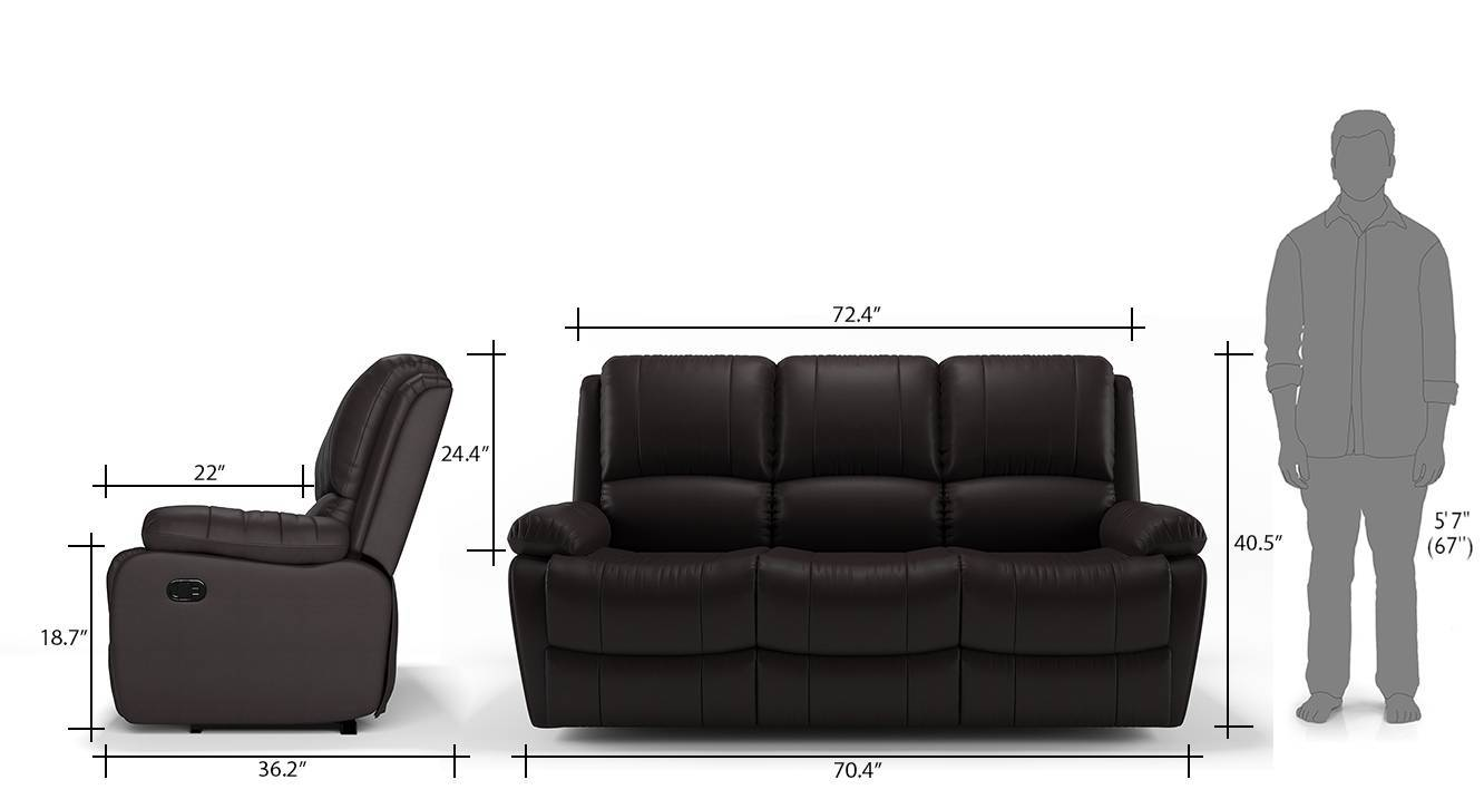Tribbiani three seater recliner chocolate brown leatherette 08