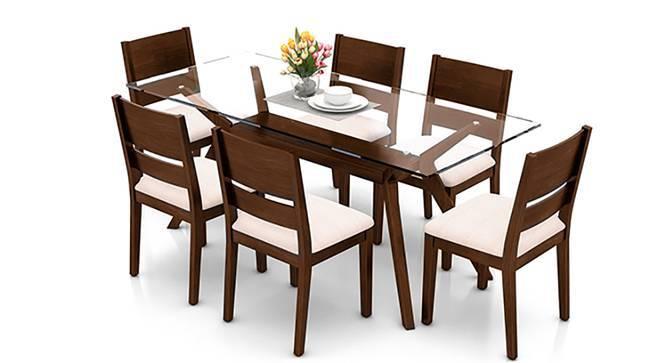 Wesley - Cabalo (Fabric) 6 Seater Dining Table Set (Beige, Dark Walnut Finish) by Urban Ladder