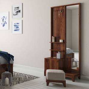 Magellan Dressing Table With Pouffe (Teak Finish) by Urban Ladder
