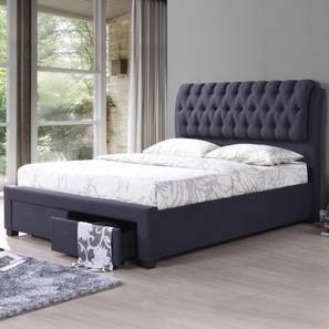 Cassiope Upholstered Storage Bed (Queen Bed Size, Charcoal Grey) by Urban Ladder