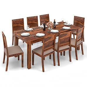 Arabia XXL - Oribi 8 Seater Dining Table Set (Teak Finish, Wheat Brown) by Urban Ladder