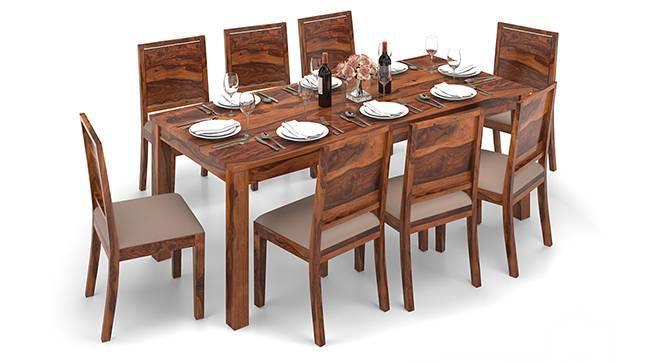 Arabia XXL - Oribi 8 Seater Dining Table Set (Teak Finish, Wheat Brown) by Urban Ladder