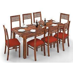 Arabia XXL - Zella 8 Seater Dining Table Set (Teak Finish, Burnt Orange) by Urban Ladder