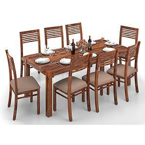 Arabia XXL - Zella 8 Seater Dining Table Set (Teak Finish, Wheat Brown) by Urban Ladder