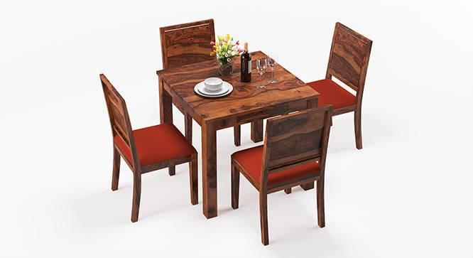 Arabia - Oribi 4 Seater Storage Dining Table Set (Teak Finish, Burnt Orange) by Urban Ladder