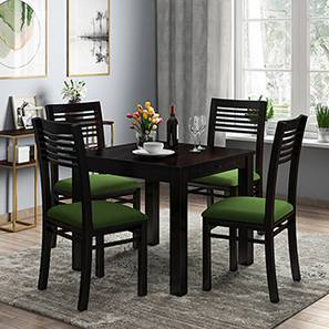 Arabia - Zella 4 Seater Storage Dining Table Set (Mahogany Finish, Avocado Green) by Urban Ladder
